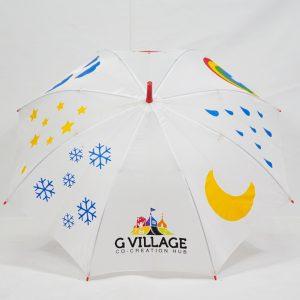 ร่มขนาดเล็ก22นิ้ว สีขาว โลโก้Gvillage
