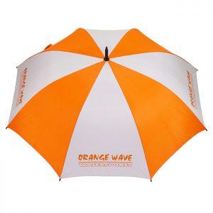 ร่มตอนเดียว 28นิ้ว สีส้มขาว งานDRANGE WAVE