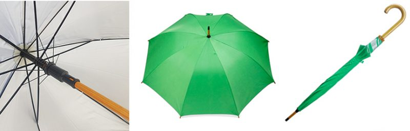 ร่มสีเขียวโครงไม้